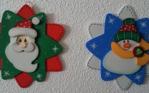 Adornos navideos de goma eva plantillas de navidad para - Plantillas adornos navidenos ...
