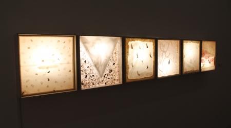 María Xosé Díaz Sin título, 1996 Técnica mixta sobre soporte y cajas de luz 41,4 x 40,01 x 15 cm (6 ud.) Colección de arte ABANCA