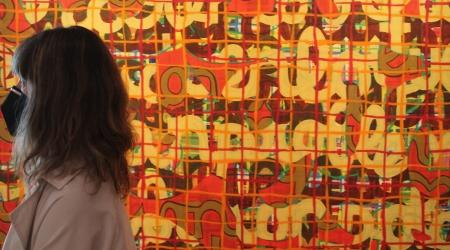 Almudena Fernández No se llama, 1999 Acrílico y óleo sobre lienzo 195 x 195 cm Colección de Arte ABANCA